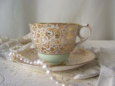 Vintage Teacup and Saucer Royal Stafford Gold by cynthiasattic