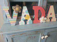 Wood letters+scrapbook paper