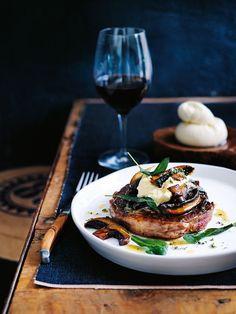 Scotch Fillet Dteak with Sage Salt,Mushrooms and Burrata