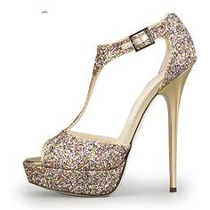 Onlymaker 2014 Hot Sale Ladies Womens High Heel Peep Toe Pumps Open Toe Sandals Handmade Customized Wedding Party Dress Fashion Cute Wedge Shoes Gold Sparkle Size US 5 ** You can get additional details at the image link.