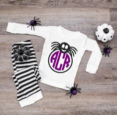 Custom Spider Monogram Halloween Baby and Kids Pajamas - 1st Halloween - baby halloween pjs - fall pajamas for babies - 6 months to 14 Youth by TwinkleTwinkleTees on Etsy Kids Halloween Pajamas, Kids Pajamas, Pajamas Women, Baby Halloween, Mommy And Son, Mommy And Me Shirt, Mothers Day Pictures, Groom Shirts, I Love My Dad