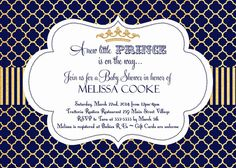Little Prince Baby Shower Invitation in Navy by PartyPopInvites