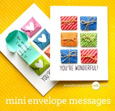 Mini Messages Card Video by Jennifer McGuire Ink Dad Birthday Craft, Birthday Cards, Paper Cards, Diy Cards, Cas Christmas Cards, Goodbye Cards, Jennifer Mcguire Ink, Message Card, Cards For Friends