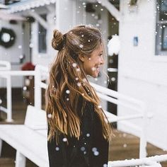 smile, brunette, snow, hair, girls, winter, long hair, messy