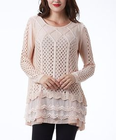 Look what I found on #zulily! Pink Scallop-Layered Sweater Tunic by Simply Couture #zulilyfinds