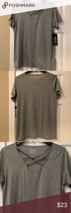 Sage Green Tee NWT! Sage green, criss cross v-neck workout shirt in new condition. 60% Cotton 40% Modal. Marc New York-Performance by Andrew Marc. Andrew Marc Tops Tees - Short Sleeve