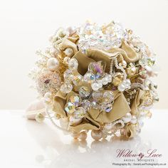 Couture vintage bouquet in gold and crystal.