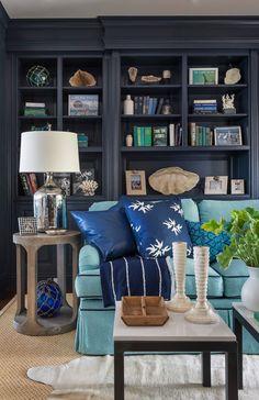 House of Turquoise: Kate Jackson Design Living Room House Of Turquoise, Turquoise Sofa, Kate Jackson, Luxury Interior Design, Interior Exterior, Interior Ideas, Living Room Decor, Living Spaces, Decoration Inspiration