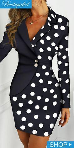 Dot Print Colorblock Insert Blazer Dress is part of Dresses - African Print Fashion, African Fashion Dresses, African Dress, Mode Outfits, Dress Outfits, Fashion Outfits, Womens Fashion, Blazer Outfits, Blazer Fashion