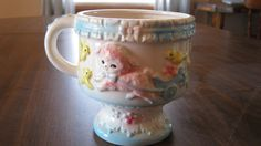 Vintage Flower Pot with Birds and Lambs by VintageandSheek on Etsy
