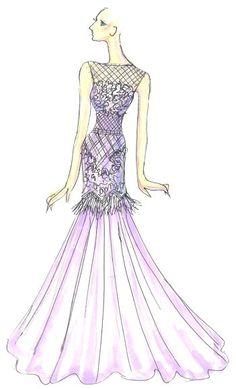 Designer Sketch by Tadashi Shoji  Violet Tulip, Spring 2014, Pantone, Fashion Color