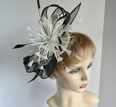 Grace fascinator in ivory and black suitable for a wedding, Mother of the Bride, races, Ladies Day, special occasion Wedding Hats, Ladies Day, Hair Band, Mother Of The Bride, Black Gold, Special Occasion, Sparkle, Trending Outfits, Bows