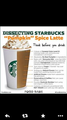 "Just another of many reasons to boycott Starbucks. Please, at the very least, patronize the good 'ol ""mom & pop"" coffee shops:  @thefoodbabe lays the smack down . #pumpkinspicelatte #ThinkAgain #health #cleaneats #healthyliving pic.twitter.com/HnxdVSGNmK"
