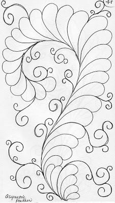 A Peek into my Quilting Sketch Book           This is a one sided or asymmetrical feather              The plumes are stitched on one ...