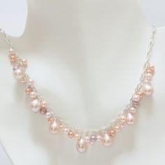 Pink Freshwater and Swarovski Pearl Necklace