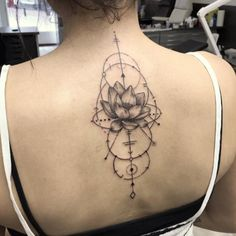 Geometric Lotus Flower Tattoo on Back by James Nidecker