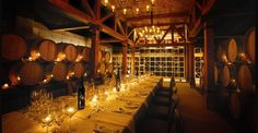 Trius Red Barrel Cellar This venue allows guests to dine in an authentic barrel cellar amongst 20 years of Trius Red, Niagara's benchmark wine. Candle lighting creates an intimate setting for up to 32 guests at one harvest table. Niagara Region, Wine Guide, Vintage Wine, Indoor Wedding, Wine Cellar, Niagara Falls, Ontario, Wineries, Wedding Ideas