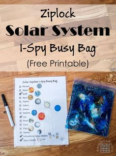 Ziplock Solar System I-Spy Busy Bag - Learn the names of planets and other space objects in a fun way. (Free Printable) (Bottle Bag I Spy) Solar System Activities, Solar System Crafts, Space Activities, Science Activities, Activities For Kids, Science Crafts, Space Preschool, Preschool Science, Preschool Prep