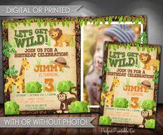 Safari Birthday Party Invitation, Jungle Birthday Party Invitation, Let's Get Wild Birthday Invitation, Lion, Giraffe, Monkey, Boy #606 by PerfectPrintableCo on Etsy