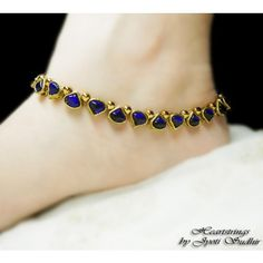 Anklet Jewelry Blue Kundan Anklet - Online Shopping for Anklets by Heartstrings by Jyoti Sudhir I Love Jewelry, Jewelry Design, Jewelry Accessories, Anklet Jewelry, Bridal Jewelry, Feet Jewelry, Women's Jewelry, Jewelry Ideas, Anklets Online