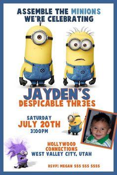 Despicable Me 2 Birthday Invitation - Printable Digital file