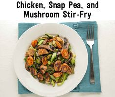 Favorite recipes from Clean Eating Challenge: use veg chicken, stir fry with snap peas, mushroom, bok choy