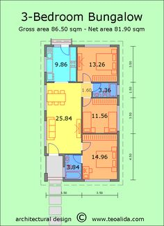 House floor plans sqm designed by me - Teoalida's website One Floor House Plans, 20x30 House Plans, Bungalow Floor Plans, Small House Plans, Double Storey House Plans, One Storey House, 3 Bedroom Bungalow, Small Bungalow, Shotgun House Plans