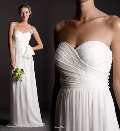 Margaux wedding dress in Silk Crinkle Chiffon - Strapless sweetheart dress with side ruching. Decorative covered buttons along left side seam zipper. Long slim A-line skirt falls from natural waist. Unattached sash included. From Jenny You bridal collection 2010