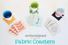 DIY Coasters DIY Embroidered Fabric Coasters DIY Coasters