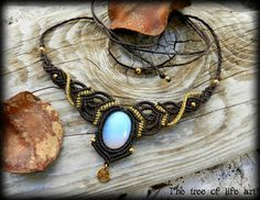 #magical #macrame #necklace #opalite #stone #gemstone #earthy #tribal #spiral #gold #brown #jewelry #ethnic #festival #theTreeOfLifeArt