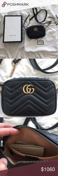 "BRAND NEW Gucci Mini Black Marmont Crossbody Bag Brand new never worn black GG Marmont matelassé mini bag The mini GG Marmont chain shoulder bag has a softly structured shape & a ziptop closure w Double G hardware. The chain shoulder strap has a leather shoulder detail. Made in matelassé leather w a chevron design & GG on the back. Antique gold toned hardware Black chevron leather w GG on the back Double G Microfiber lining  Chain shoulder strap w 24"" drop Interior open pocket Zip top…"