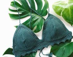 Ganchillo Bikini Top Bralette traje de baño por ZoleaByZoe en Etsy Crop Tops Crochet, Diy Crochet Bikini, Shorts Crochet, Crochet Top Outfit, Crochet Bra, Crochet Bikini Pattern, Crochet Blouse, Crochet Clothes, Bikini Mode