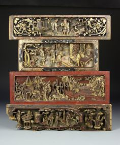 51BidLive-[Four Chinese Carved Gilt Panels]