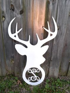 *****Painted Whitetail Monogram Deer Head Antler Wreath Insert, Letter Cutout****    Heres a brand new concept to wooden monograms. INSERTS!!