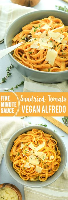 5 Minute Vegan Sun-Dried Tomato Alfredo Sauce – – This stuff is CRACK. It's so flavorful and crazy easy to make. It's my favorite pasta sauce and goes great over veggies too!
