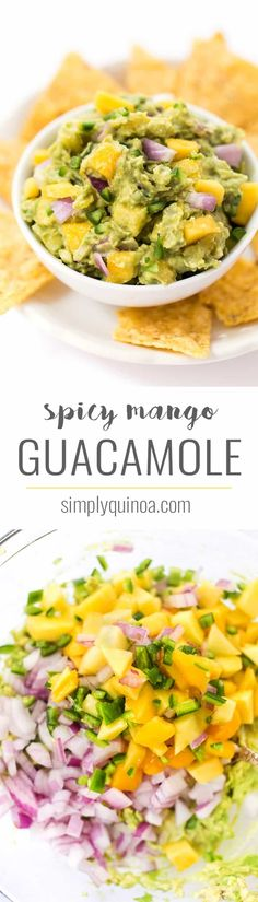 SPICY MANGO GUACAMOLE -- this recipe is a quick and easy spread that goes with everything. Use it on top of burgers, dip with chips or spread it on some toast!