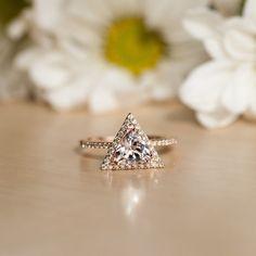 Rose Gold Morganite engagement Ring, Diamond Halo Ring, Triangle Ring, Rose Gold…