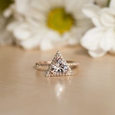 Rose Gold Morganite engagement Ring, Diamond Halo Ring, Triangle Ring, Rose Gold…