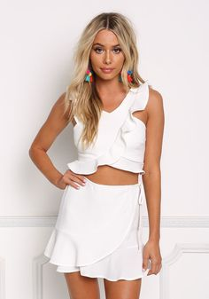 Ivory Flutter Ruffle Wrap Over Crop Top - New, Summer Outfits, Ivory Flutter Ruffle Wrap Over Crop Top - New. Beautiful White Dresses, Pretty Dresses, Skirt Outfits, Cute Outfits, Fashion Wear, Fashion Outfits, Crop Top Dress, Junior Outfits, Korean Fashion