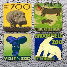 New Zoo Review  1930's Zoo Posters Mousepad Coaster set coasters by Polkadotdog