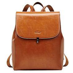 CLUCI Backpack Purse for Women Oil Wax Leather Vintage Travel Large Fashion Designer Ladies Flap Shoulder Bag Laptop Backpack, Leather Backpack, Pu Leather, Vintage Leather, Business Fashion, Business Women, Leather Design, Beautiful Bags
