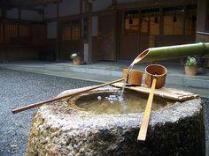 A beautiful rainy day at the shrine. Bamboo Fountain, Small Basin, Water Spout, Wakayama, Japanese Culture, Wabi Sabi, Places Around The World, Cool Photos, Tea Gardens