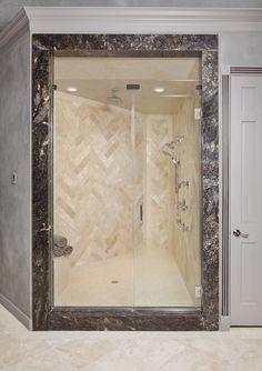 herringbone tile sample for shower & floor Herringbone Tile, Shower Floor, Traditional Bathroom, Bed & Bath, Custom Homes, Custom Bathrooms, Oversized Mirror, Tiles, Flooring
