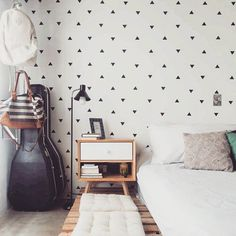 Our triangle wall decals are a simple and effortless way to ensure your walls are looking spectacular every single day! Our set of mini triangles ca Home Bedroom, Girls Bedroom, Bedroom Decor, Bedrooms, Wc Decoration, New Room, Sweet Home, New Homes, House Design
