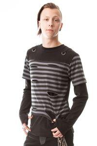 Vixxsin - Junction Shirt gestreift mit Rissen und Schlitzen
