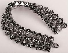 Mens Skeleton Stainless Steel Heavy Duty Biker Jewelry