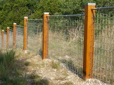 6 Cheap And Easy Diy Ideas: Fence Gate Hardware wire fence wall.Timber Fence And Gates modern fence with planters. Wire Fence Panels, Hog Wire Fence, Cattle Panels, Deer Fence, Farm Fence, Backyard Fences, Fence Gate, Garden Fencing, Cattle Panel Fence