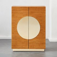 Brushed brass details steal the show on this rattan cabinet by Mermelada Estudio. Wrapped in kubu rattan, wooden cabinet playfully combines textures and shapes with brass detailing along the doors and cabinet bottom. Modern Storage Furniture, Vintage Bedroom Furniture, Media Furniture, Entryway Furniture, New Furniture, Home Decor Bedroom, Kitchen Furniture, Wooden Bedroom, Furniture Shopping