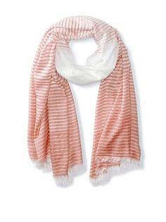 58% OFF Jules Smith Women's Striped Scarf, Coral/White