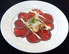 Appetizer  Carpaccio of Beef, Grilled Ciabatta, Roasted Garlic Aioli  #RiversideHotel #Catering